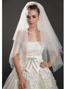 Graceful Two-tier Beautiful Organza For Bridal Veils