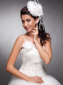 White Beaded Hand Made Flowers Headpieces And Corsage