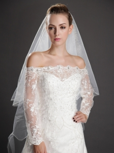 Inspired Layer Ribbon Edge Organza Bridal Veils