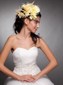 Light Yellow Hand Made Flowers Beaded Headpieces