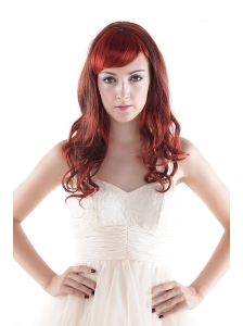 Medium Long High Quality Synthetic Auburn Curly Hair Wig