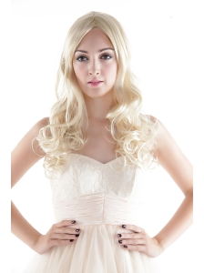 Medium Long Synthetic Blonde Wavy Hair Wig