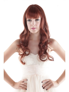 Medium Long Synthetic Red Curly Hair Wig