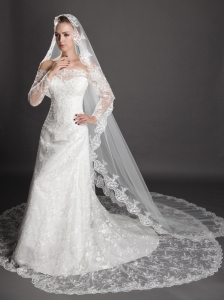 Perfect Lace Appliques Edge Organza Wedding Veils