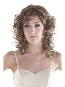 Sexy Mixed Color Medium  Synthetic Curly Hair Wig