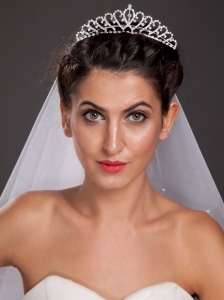 Beautiful Sweetheart Shaped Tiara With Beading Accents