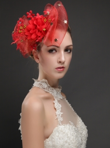 Exquisite Red Bowknot Shaped Fascinators With Appliques