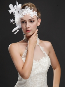 Elegant Feather Beaded Flowers Ribbon Women' s Fascinator