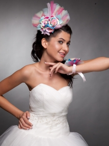 Beautiful Tulle Hand Made Flowers Colorful Headpieces and Wedding Wrist Corsage