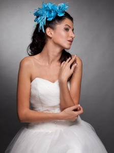 Blue Taffeta Hand Made Flowers Headpieces