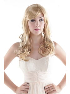 Chic Blonde Long Curly Synthetic Hair Wig With Side Bang
