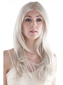 Hot Long Gray Wavy Synthetic Party Wig