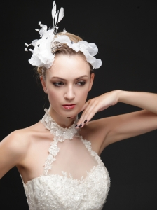Pure White Flower Bridal Net With Feather Women 's Fascinators