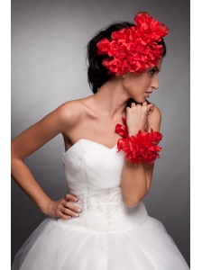 Red Taffeta Hand Made Flowers Headpieces and Wedding Wrist Corsage
