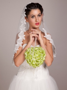 Lovely Green Wedding Bridal Bouquet With Pearl