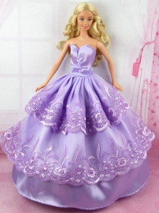 Beautiful Lilac Gown With Embroidery Made To Fit The Quinceanera Doll