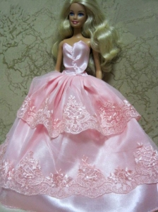 Beautiful Pink Handmade Dress With Lace Dress For Quinceanera Doll