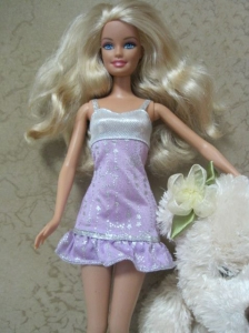 Cute Handmade Lilac Party Dress With Sequin Dress For Quinceanera Doll