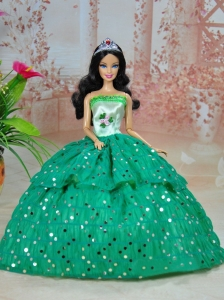 Elegant Ball Gown Green Strapless Hand Made Flowers Party Clothes Fashion Dress For Quinceanera Doll