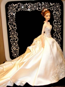 Fashion Appliques Quinceanera Doll Wedding Dress With Chapel Train For Quinceanera Doll