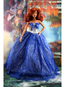 Fashion Royal Blue Dress For Quinceanera Doll
