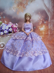 Handmade Dresses Lilac Lace Fashion Party Clothes Gown Skirt For Quinceanera Doll