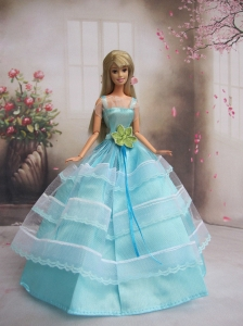 New Baby Blue Handmade With Sash Party Dress Quinceanera Doll Clothes Gown For Quinceanera Doll