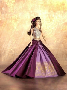 New Fashion Princess Purple Dress Gown For Quinceanera Doll
