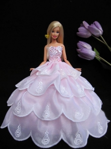 New Ruffled Layeres Baby Pink Handmade Summer Wear Dress Clothes Gown For Quinceanera Doll