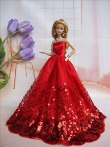 Popular Strapless Red Accents And Sequins Made To Fit The Quinceanera Doll