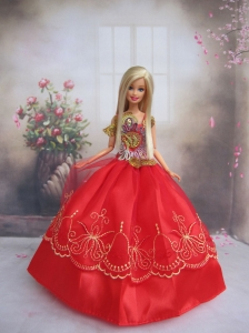 Pretty Gown With Red Applqiues Strapsmade To Fit The Quinceanera Doll