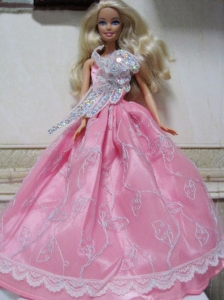Pretty Rose Pink Princess Dress With Embroidery Made To Fit The Quinceanera Doll
