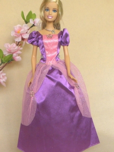 Purple Short Sleeves Handmade Dresses Fashion Party Clothes Gown Skirt For Quinceanera Doll