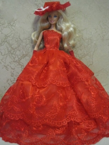 Red Handmade Pretty Dress With Embroidery Made To Fit The Quinceanera Doll