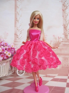 Sweet Ball Gown Hot Pink Hand Made Flowers With Tea-length Made To Fit The Quinceanera Doll