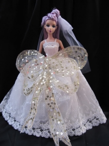 The Most Amazing Straps White Dress With Sequins Made To Fit The Quinceanera Doll