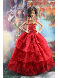 Amazing Red Lace Party Dress Made To Fit The Quinceanera Doll