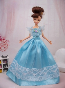 Aqua Blue Hand Made Flower Princess Quinceanera Doll Dress