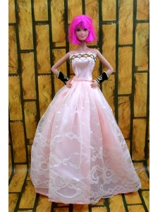 Baby Pink Gown For Quinceanera Doll With Lace And A-line