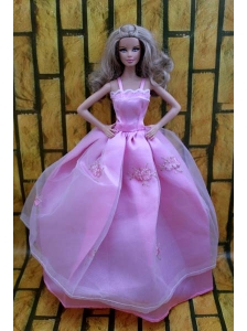 Ball Gown Dress For Quinceanera Doll Dress With Lavender And Straps