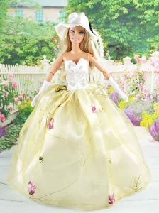 Beautiful Champagne Gown With Embroidery Dress For Quinceanera Doll