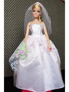 Beautiful Handmade Pink Quinceanera Doll Tulle Wedding Dress For Quinceanera Doll