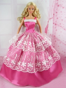 Beautiful Pink Gown With Embroidery For Quinceanera Doll