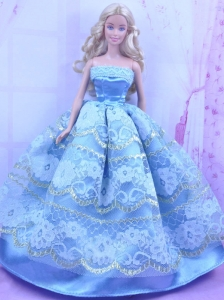 Blue Handmade Gown With Appliques And Sequins Made To Fit The Quinceanera Doll