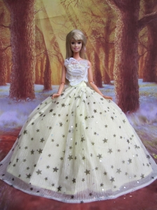 Elegant Handmade Gown With Sequins Made To Fit The Quinceanera Doll