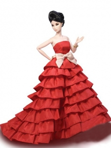 Elegant Party Dress With Red Taffeta Made To Fit The Quinceanera Doll