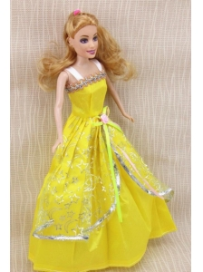 Elegant Party Dress With Yellow Taffeta Made To Fit The Quinceanera Doll