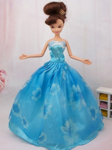 Elegant Printing Ball Gown Party Clothes Quinceanera Doll Dress