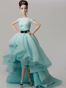 Elegant Blue Gown With Blue Organza Made To Fit The Quinceanera Doll