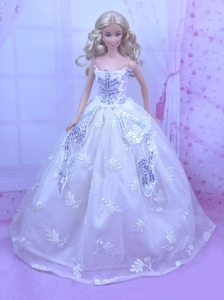 Elegant White Gown With Embroidery And Sequins Made To Fit The Quinceanera Doll